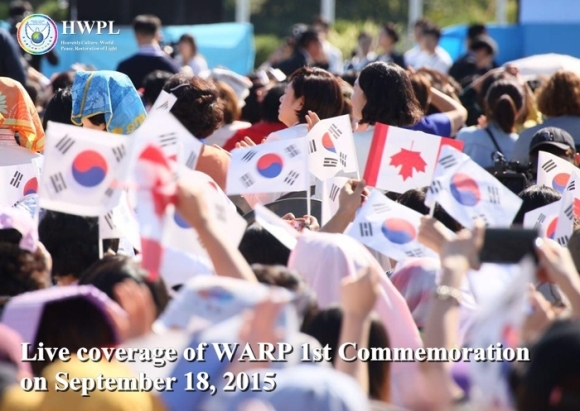 Many People cheer for World Peace